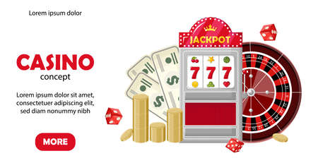 Casino site template concept. Triple seven jackpot on slot machine, roulette, coins and dollars. Playing cards, dices, chips. Vector 일러스트