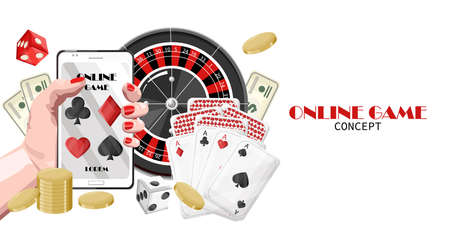 Casino online game with woman hands holding mobile phone, winning jackpot and roulette game.
