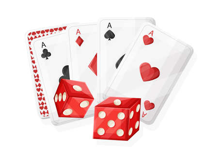 Casino red rolling dices and playing cards. Vector