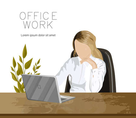 Girl working on a laptop in the office near a green plant. Wooden table. Vector