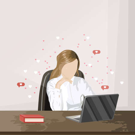 Girl working on a laptop while receiving hearts impressions. Wooden table. Vector