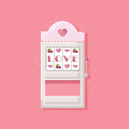 Rose slot machine for girls with love text instead of triple seven. Vector 일러스트