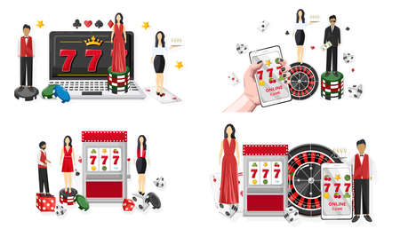 Casino set with waiters serving people in the casino. Triple seven jackpot on slot machine and mobile phone. Playing roulette, dices and chips. Vector