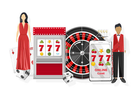 Waiters serving people in the casino. Triple seven jackpot on slot machine and mobile phone. Playing roulette, dices and chips. Vector 일러스트
