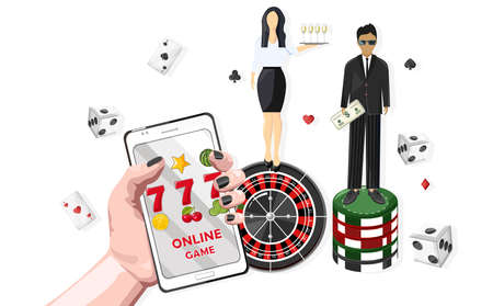 Woman waiters serving people in the casino. Triple seven jackpot on mobile phone. Playing roulette, dices and chips. Vector 일러스트