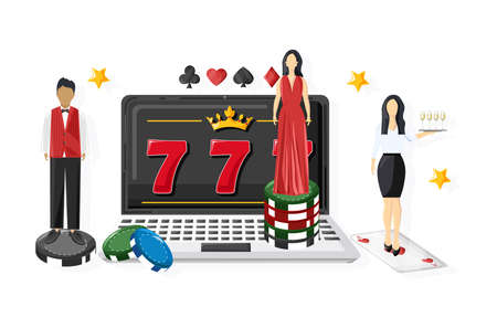 Woman waiters serving people in the casino on slot machine. Triple seven jackpot. Playing cards, dices, chips. Vector