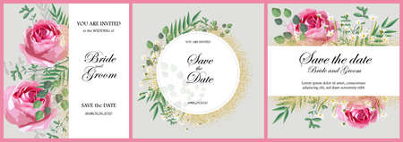 Set of romantic invitation cards with rose flowers, green leaves and chamomile