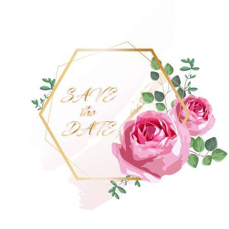 Romantic invitation card with rose flowers and leaves Ilustrace
