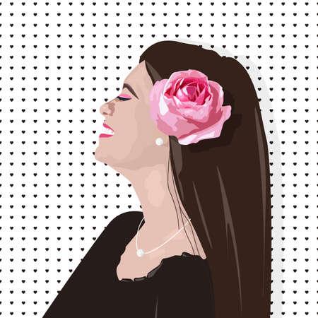 Smiling girl with rose flower on hair 版權商用圖片 - 138012375