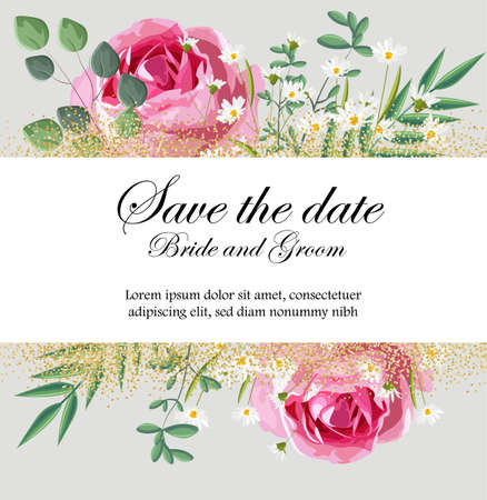 Romantic invitation card with rose, chamomile flowers and leaves. Place for text. Love day Vector