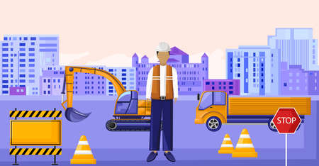 Construction worker sitting in front of vehicles. Yellow cones and warning tapes. Stop sign. City on background. Vector Ilustrace