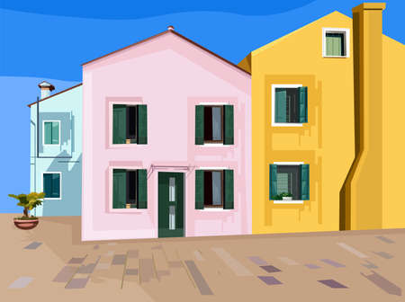 Colorful pink, blue and yellow buildings.