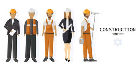Set of a team of construction workers