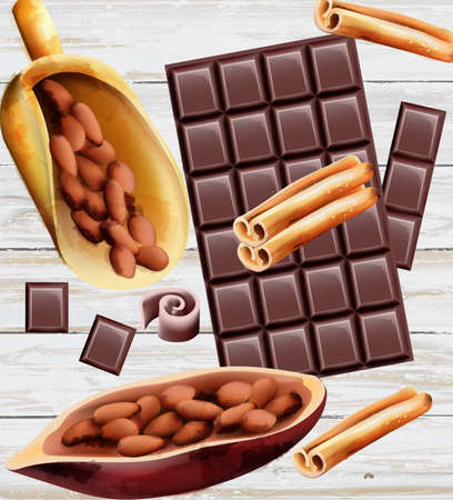 Dark chocolate with cinnamon and cocoa beans. Wooden background.Vector Иллюстрация