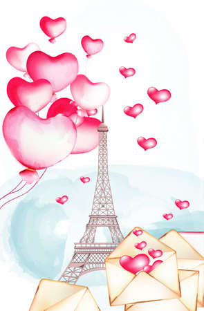 Tour Eiffel with watercolor balloons flying nearby. 向量圖像