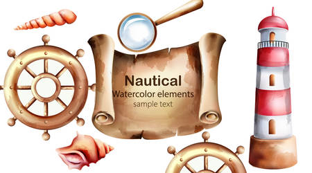 Nautical watercolor elements with treasure map, lighthouse, boat wheel, shell and magnifier. 向量圖像