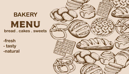 Bakery menu with bread, cakes, sweets and place for text. Line art vector
