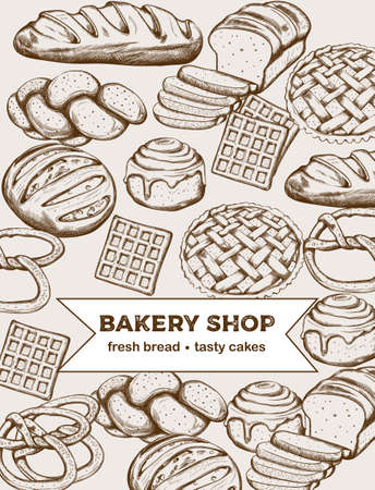 Line art set of bakery products including various types of bread and cakes. Vector