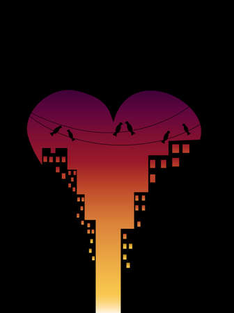 City in the love day at sunset with buildings and birds