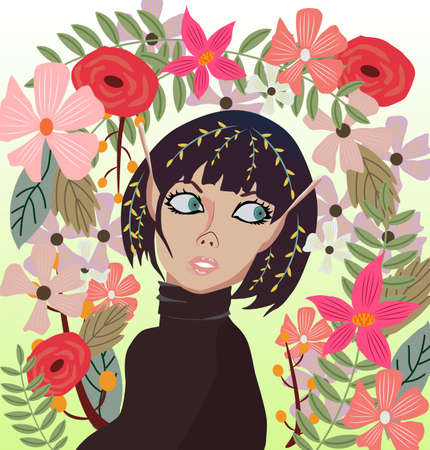Abstract shot of elf girl with flowers all around her