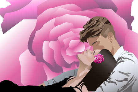 Pareja joven besándose mientras se establecen. Flor color de rosa en el fondo. Vector de día de amor