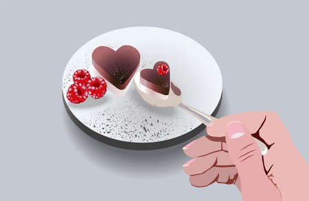 Girl eating heart shaped cake with raspberry fruit decorations. Love day idea. Vector