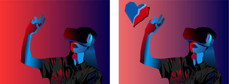 Girl in virtual reality helmet touching with fingers love icon. Love day idea Vector 向量圖像
