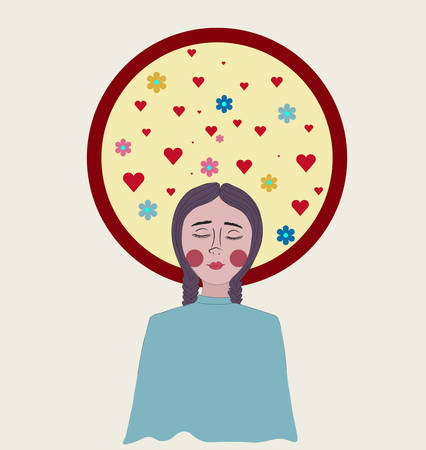 Girl with red round cheeks. Circle around head full with flowers and hearts Ilustracja