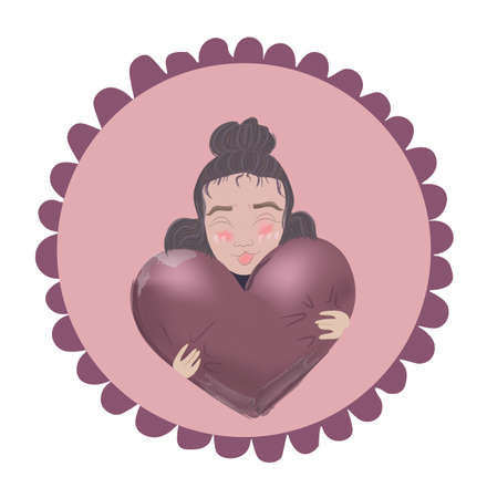 Young girl curly hair and red cheeks hugging a heart balloon. Valentine day card vector