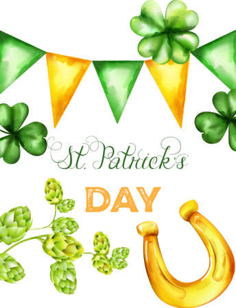 Saint Patricks Day vector with green and yellow triangle buntings, shamrock sprig and artichoke. Holiday vector