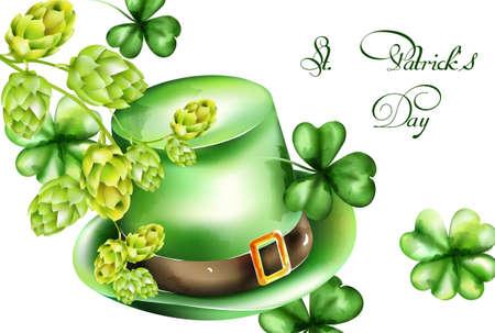 Saint Patricks Day watercolor green hat and shamrock sprig, artichoke decorations Ilustração