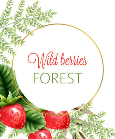 Wild berries forest wreath with watercolor strawberries and green leaves