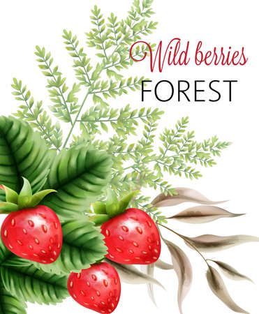 Wild berries forest with watercolor strawberries and green leaves Ilustração