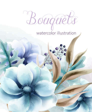 Bouquet of watercolor blue flowers with brown leaves and berries. Vector