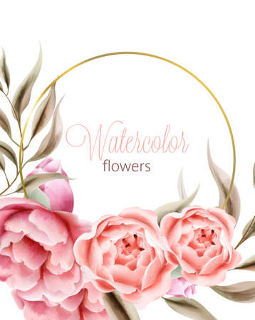 Watercolor rose peonies flowers with brown leaves on background. Wreath with place for text. Vector