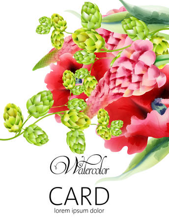 Watercolor card with artichoke and poppy flowers with green leaves. Vector