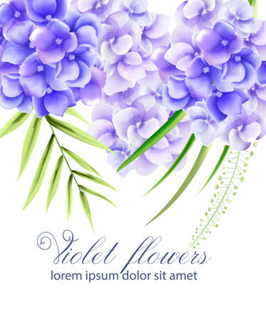 Watercolor vibrant violet flowers with green leaves. Spring vector