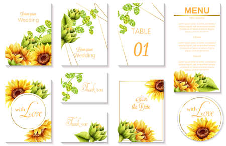 Watercolor spring wedding event invitation cards with green artichoke and sunflower. Vector set Stok Fotoğraf - 138940624