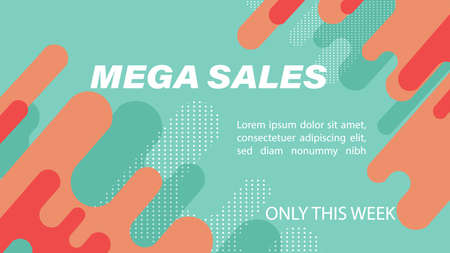 Mega sales banner with fluid dynamic bubble design, flat style waves and dots