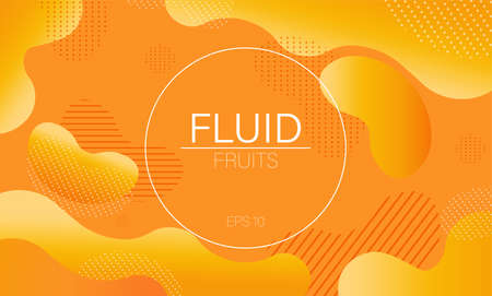 Fluid dynamic bubble design circle with colorful orange waves and dots on background