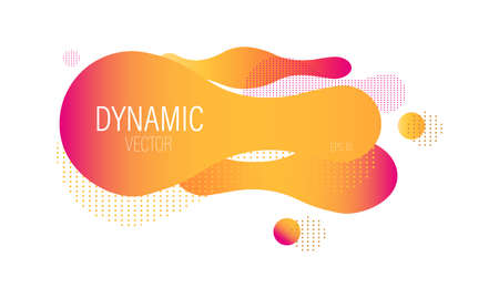 Fluid dynamic bubble design with colorful orange waves and dots. Futuristic abstract liquid style vector