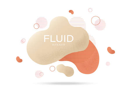 Fluid banner design with colorful orange, cream color waves and curly lines. Futuristic abstract liquid style vector