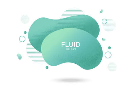 Fluid lines design with colorful green waves and curly lines. Futuristic abstract liquid style vector