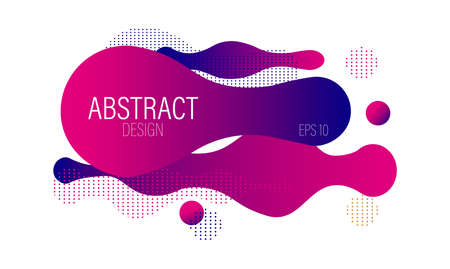Fluid dynamic bubble design with colorful pink waves and dots. Futuristic abstract vector