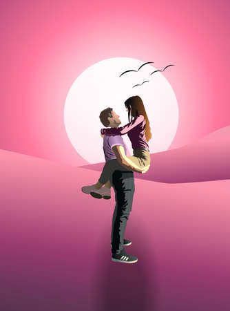 Man holding his girlfriend in arms at pink sunset. Birds flying in the sky Ilustracja