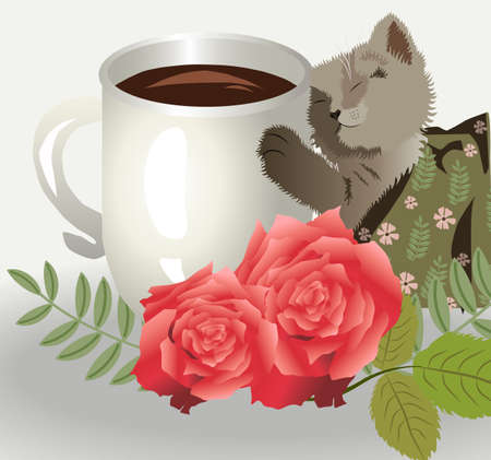 Cute little cat holding a white mug filled with coffee
