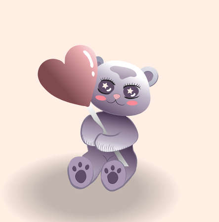Cute little bear with red cheeks holding a balloon in heart shape