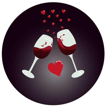 Red wine glasses clinking with hearts flying above
