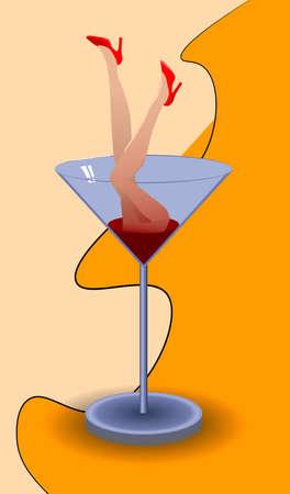 Woman feet with red shoes diving into martini glass Ilustração