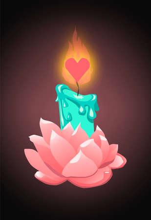 Vela turquesa en flor rosa con mecha en forma de corazón
